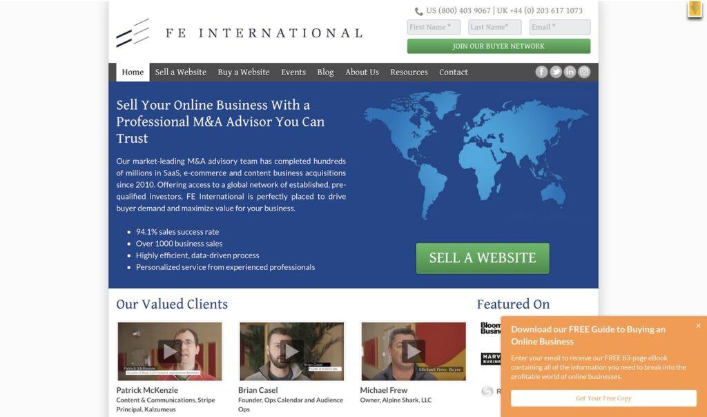Англоязычная биржа сайтов FEinternational