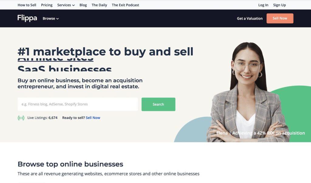 Зарубежная биржа сайтов Flippa